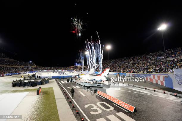 Fireworks shoot into the air after the 2020 NHL Stadium Series game between the Los Angeles Kings and the Colorado Avalanche at Falcon Stadium on...