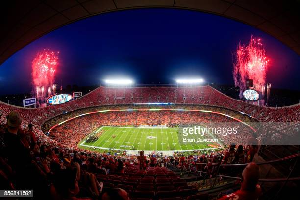 Fireworks shoot off before the game between the Washington Redskins and Kansas City Chiefs at Arrowhead Stadium on October 2, 2017 in Kansas City,...