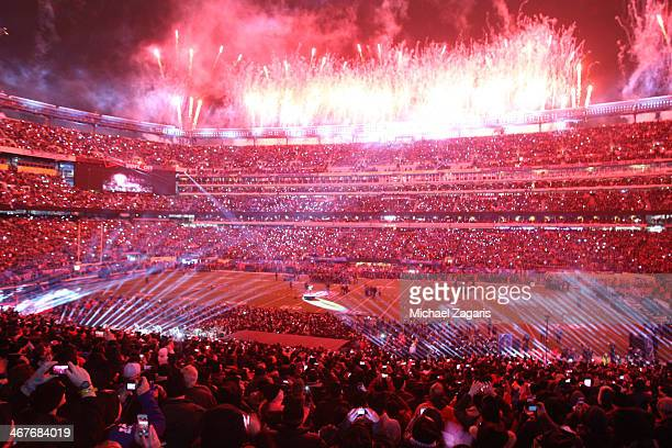 Fireworks shoot up in the air as Bruno Mars finishes his halftime show during Super Bowl XLVIII at MetLife Stadium on February 2 2014 in East...