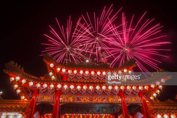 Fireworks show at Thean Hou temple in Kuala Lumpur during the celebrations marking Chap Goh Mei on February 11 2017 Also known as the Lantern...
