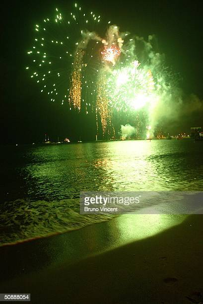 Fireworks show is seen above the Palais de festival on the last night of the 57th Cannes Film Festival on May 22 2004 in Cannes France