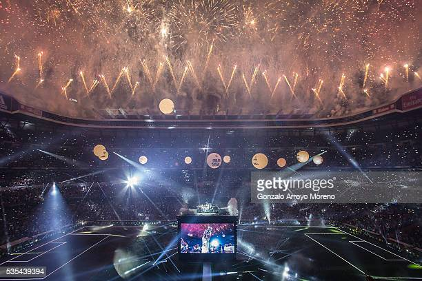 A fireworks show takes place as Real Madrid CF team celebrate with their fans at Santiago Bernabeu Stadium the day after winning the UEFA Champions...