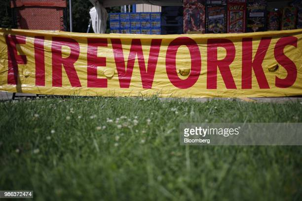 A 'Fireworks' sign is displayed outside a roadside tent in Catlettsburg Kentucky US on Thursday June 28 2018 According to the American Pyrotechnics...
