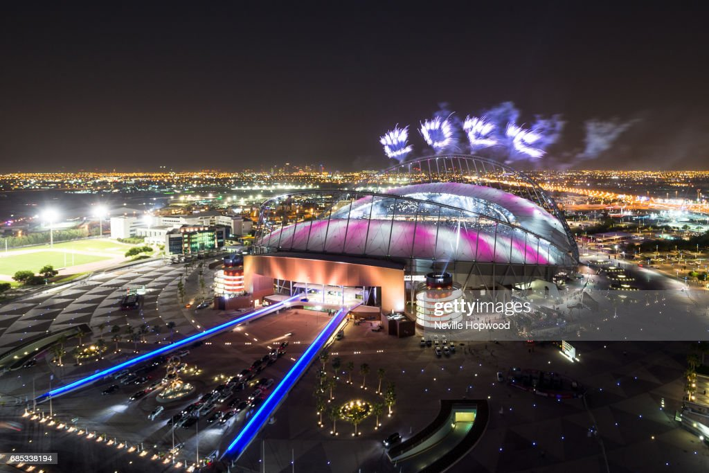 fireworks spell out 2022 for the Qatar 2022 World Cup at Khalifa International Stadium on May 19, 2017 in Doha, Qatar. Qatar's Supreme Committee for Delivery & Legacy launches Khalifa International Stadium, the first completed 2022 FIFA World Cup venue, five years before the tournament begins.