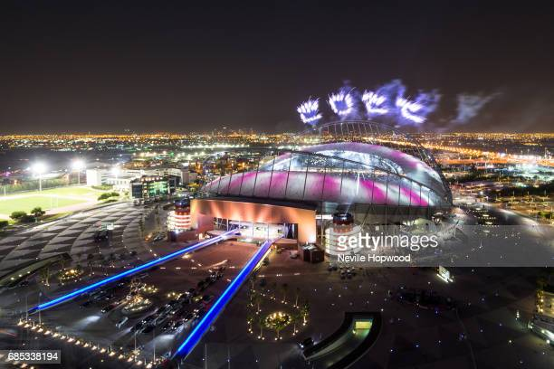 fireworks spell out 2022 for the Qatar 2022 World Cup at Khalifa International Stadium on May 19 2017 in Doha Qatar Qatar's Supreme Committee for...