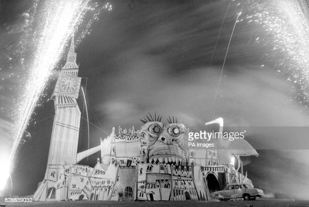 Fireworks spray the dark sky over a cartoonlike version of the Houses of Parliament with a 60ft Big Ben tower as part of Parliament In Flames a 13000...