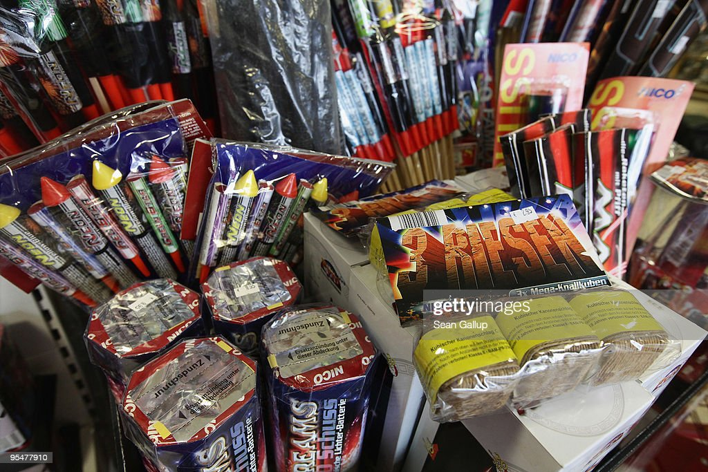 Fireworks stand for sale on display at a shop on December 29