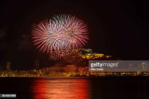 fireworks taken on the nights following the bonfires of saint john in southern spain - san juan fotografías e imágenes de stock