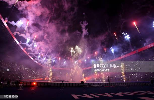 Fireworks to celebrate winning the 'French Championship 2018-2019' for PSG following the French Ligue 1 match between Paris Saint-Germain and Dijon...