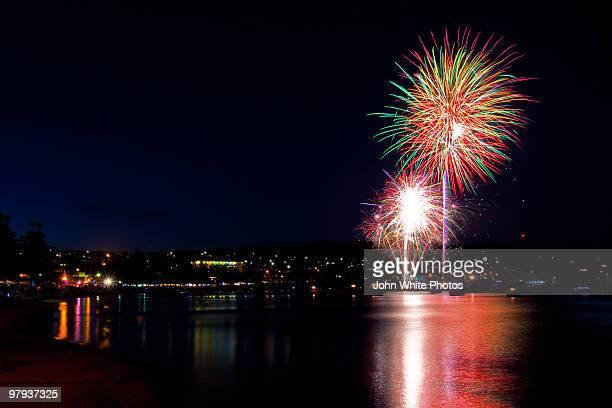 fireworks tunarama  - porto lincoln - fotografias e filmes do acervo