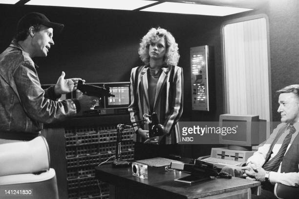 TEAM Firing Line Episode 3 Pictured Dwight Schultz as 'Howling Mad' Murdock Judith Ledford as Carla Robert Vaughn as General Hunt Stockwell Photo by...