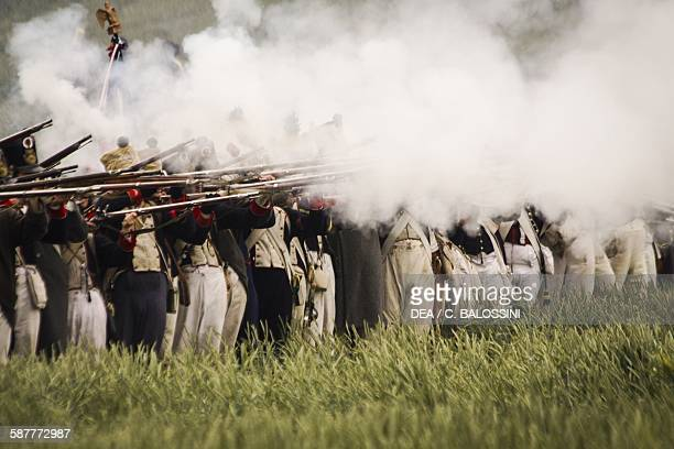Firing line of the French line infantry Battle of Waterloo 1815 Napoleonic wars 19th century Historical reenactment