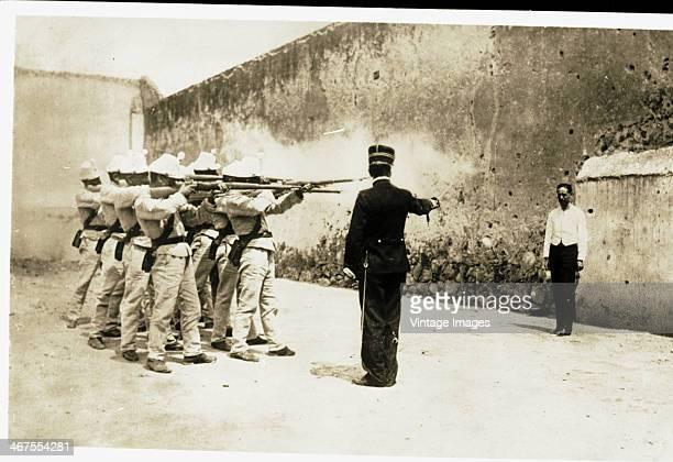 A firing squad execute a prisoner circa 1890