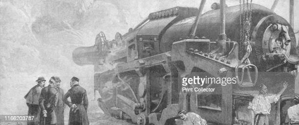 Firing the 111Ton Gun with 1800lb projectile and 960lb of gunpowder at Woolwich June 1887' William Armstrong's 'monster' gun which was then the...