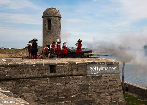 firing the cannons - st. augustine florida stock photos and pictures