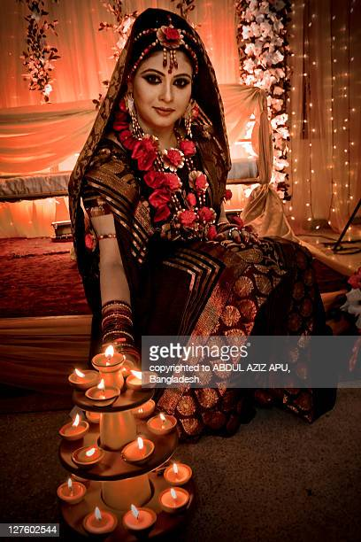 firingflame of wedding... - indian bride stock photos and pictures