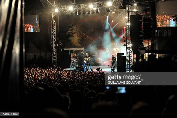 FIrish singer Dolores O'Riordan of the Irish band The Cranberries performs on stage during the 23th edition of the Cognac Blues Passion festival in...