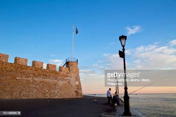 firka fortress, chania, crete - bairro antigo imagens e fotografias de stock