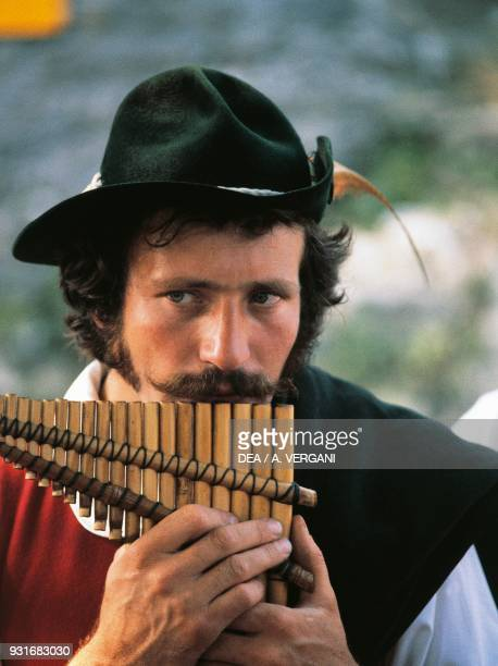 Firlinfeu player, woodwind musical instrument, brianzolo folk group, The Betrothed, Oggiono, Lombardy, Italy.