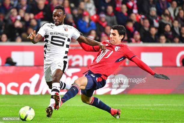 Firmin Mubele of Rennes and Junior Alonso of Lille during the Ligue 1 match between Lille OSC and Stade Rennais at Stade Pierre Mauroy on January 17...