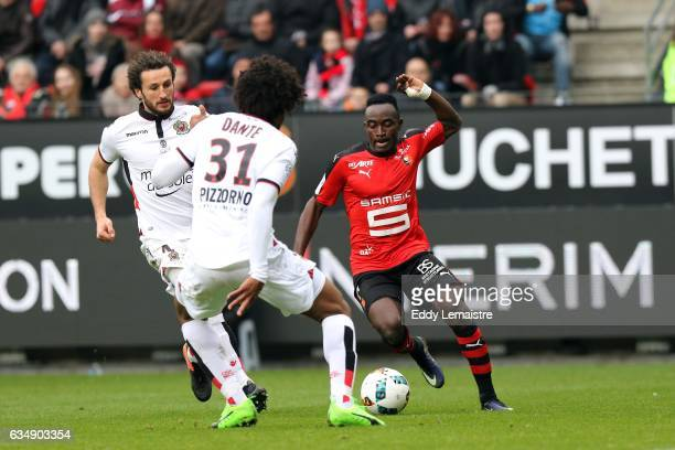 Firmin Mubele of Rennes and Paul Baysse of Nice during the Ligue 1 match between Stade Rennais and OGC Nice at Roazhon Park on February 12 2017 in...