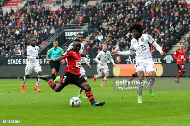 Firmin Mubule of Rennes and Costa Dante of Nice during the Ligue 1 match between Stade Rennais and OGC Nice at Roazhon Park on February 12 2017 in...