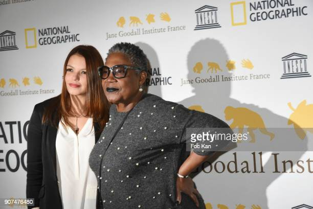 Firmine RichardSeverine Ferrer attends 'Jane' National Geographic Documentary on Jane Goodall Premiere at UNESCO on January 19 2018 in Paris France