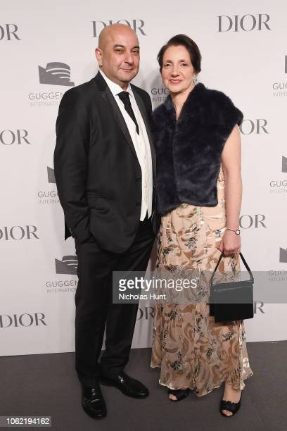 Firoz Ladak and Valerie Monchi attend the Guggenheim International Gala Dinner made possible by Dior at Solomon R Guggenheim Museum on November 15...