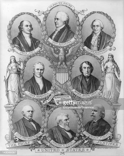 First 8 Chief Justices, The First Eight Chief Justices Of The United States Supreme Court, In A Portrait Published In 1894, Justices Include: John...