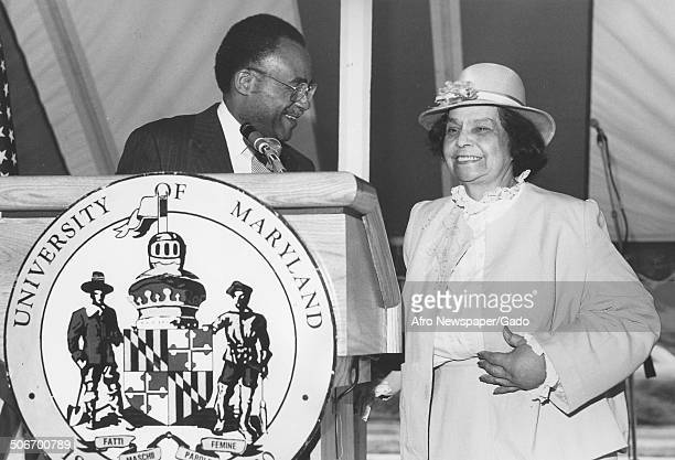 First AfricanAmerican woman to practice law in Maryland Juanita Jackson Mitchell speaking at a podium at the University of Maryland College Park...