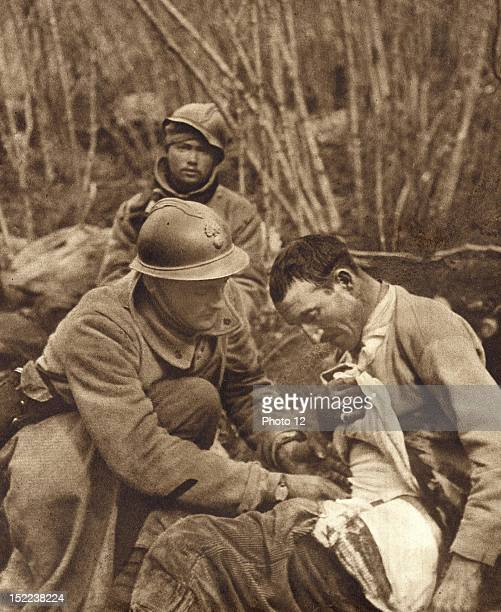 First Aid administered to the injured in the Haudromont ravine near Douaumont Fort during The Battle of Verdun 28th February 1916