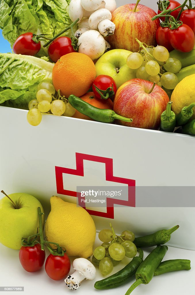 First aid box filled with fresh fruits and vegetables. : Stock Photo
