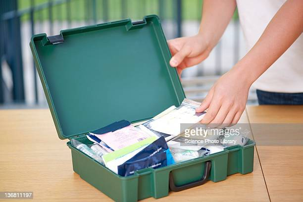 first aid box - first aid kit stock pictures, royalty-free photos & images