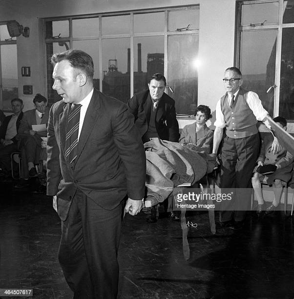 First aid competition Mexborough South Yorkshire 1961 A volunteer patient is carried on a stretcher during a first aid competition which was held by...
