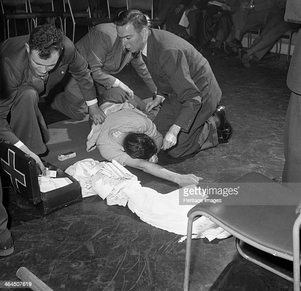 First aid competition Mexborough South Yorkshire 1961 A volunteer patient is attended to during a first aid competition which was held by the Central...