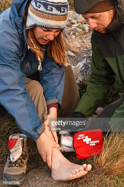 first aid in the wilderness - first aid stock pictures, royalty-free photos & images