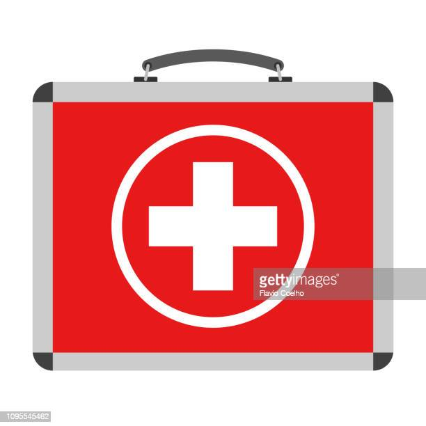 first aid kit briefcase illustration - symbol stock pictures, royalty-free photos & images