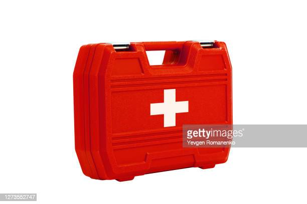 first aid kit, isolated on white background - first aid kit stock pictures, royalty-free photos & images