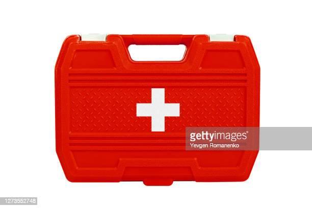 first aid kit, isolated on white background - evento catastrofico foto e immagini stock