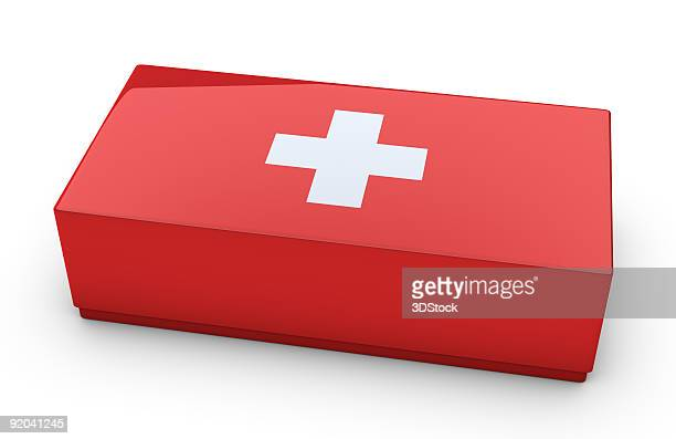 first aid kit on white background - medical icons stock pictures, royalty-free photos & images