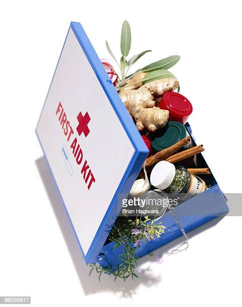 first aid kit with herbs and natural remedies - herb stock pictures, royalty-free photos & images