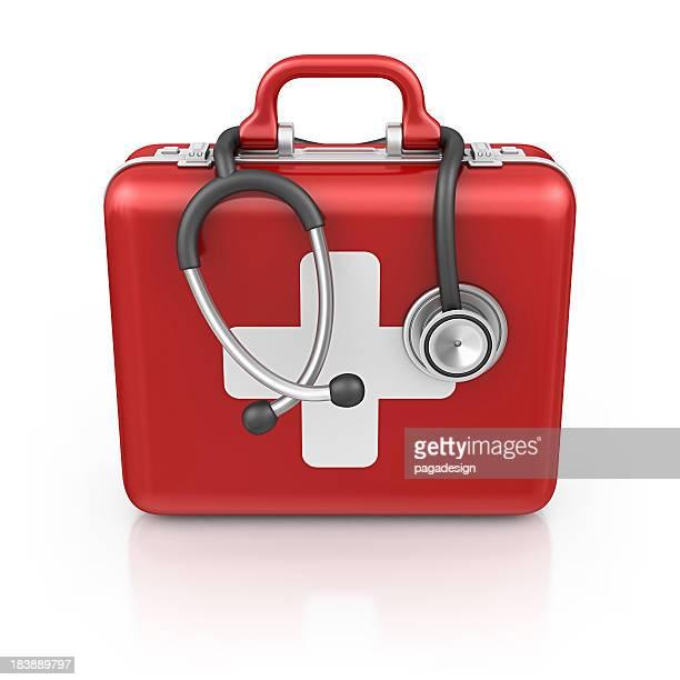 erste-hilfe-kit mit stethoskop - erste hilfe hinweisschild stock-fotos und bilder
