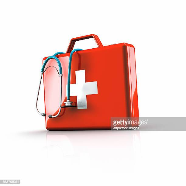 first aid kit with stethoscope - first aid kit stock pictures, royalty-free photos & images