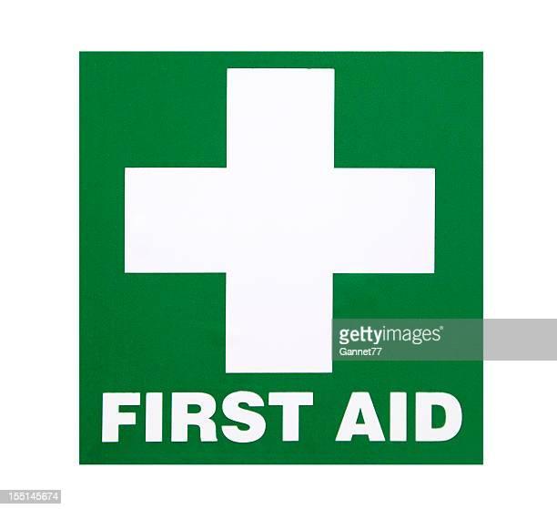 erste hilfe-hinweisschild - erste hilfe hinweisschild stock-fotos und bilder