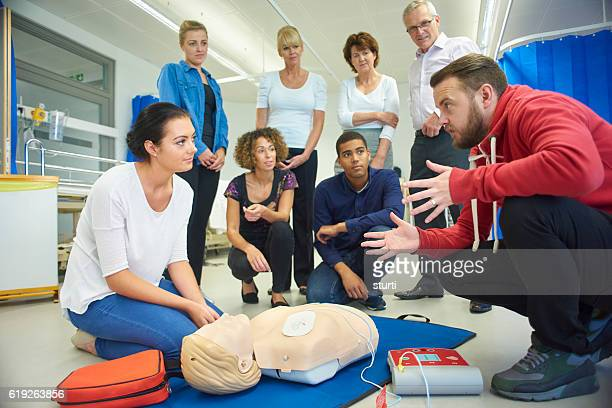 first aid training class - community center stock pictures, royalty-free photos & images