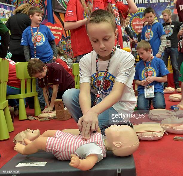 First Aid Training for children during the 23rd final of WOSP on January 11 2015 at TVP Headquaters in Warsaw Poland Annual WOSP found raising is the...
