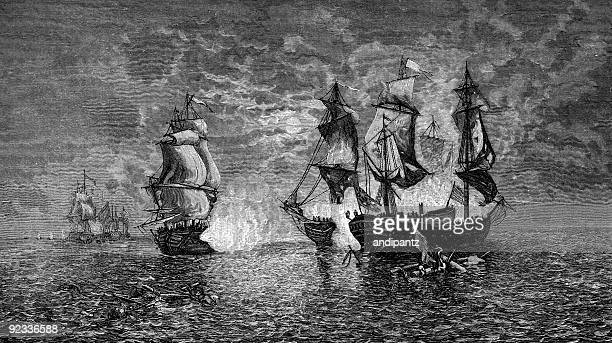 first american naval victory - etching stock pictures, royalty-free photos & images