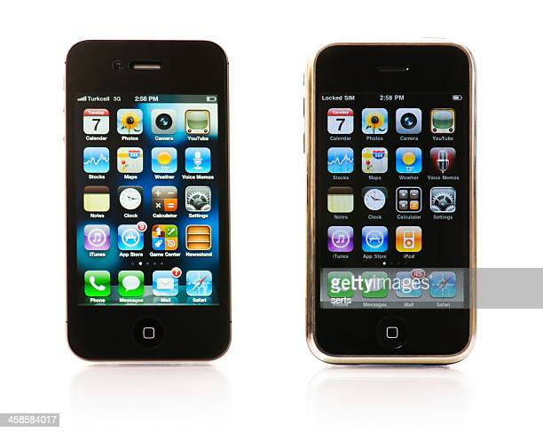 first and third generations of the iphone - number 1 stock pictures, royalty-free photos & images