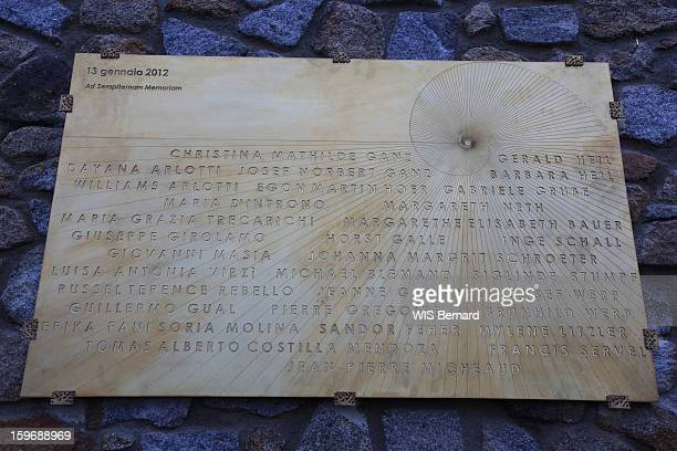 First anniversary of the sinking of the cruise ship Costa Concordia in Italy off the island of Giglio (32 victims) , the commemorative plaque with the names of the victims in January 13, 2013.