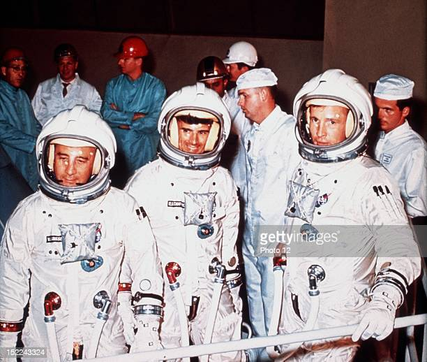 First Apollo crew From left Virgil Grissom Roger Chaffee Edward White The flight is scheduded for early 1967 On January 27 tragedy struck the Apollo...